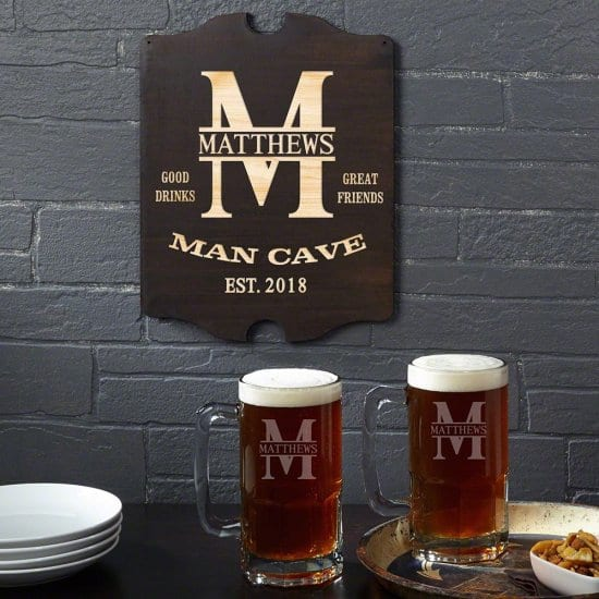 Man Cave Beer Mug Gift Set with Sign