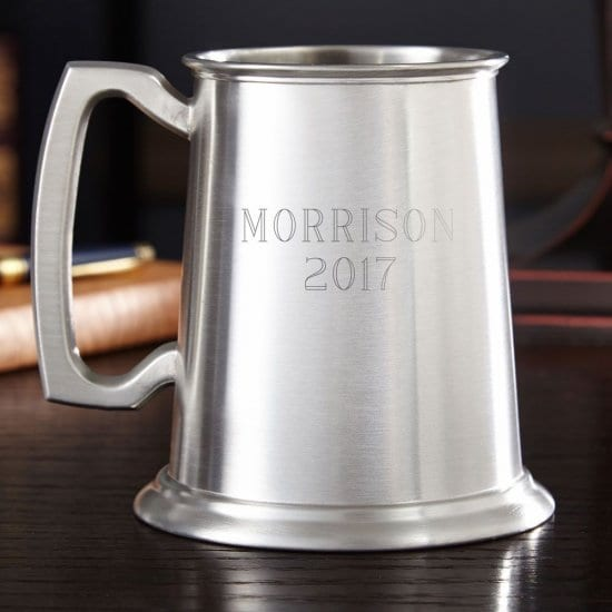 Engraved Pewter Tankard with Glass Bottom