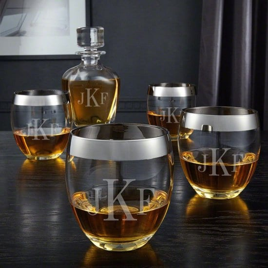 Silver Rimmed Whiskey Glasses and Monogrammed Decanter Set
