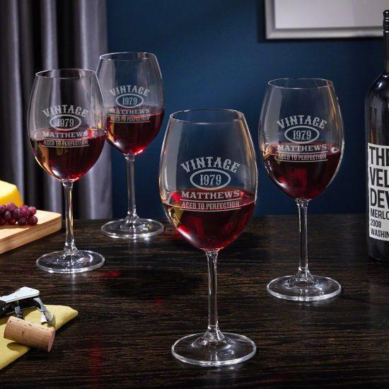 Custom Vintage Red Wine Glasses