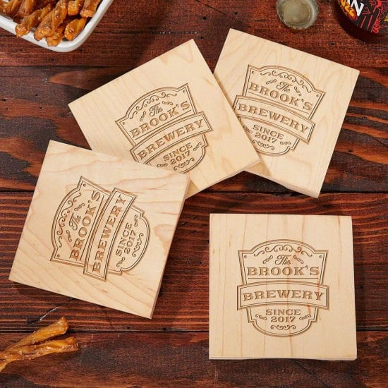 Personalized Wooden Bottle Opener Coasters