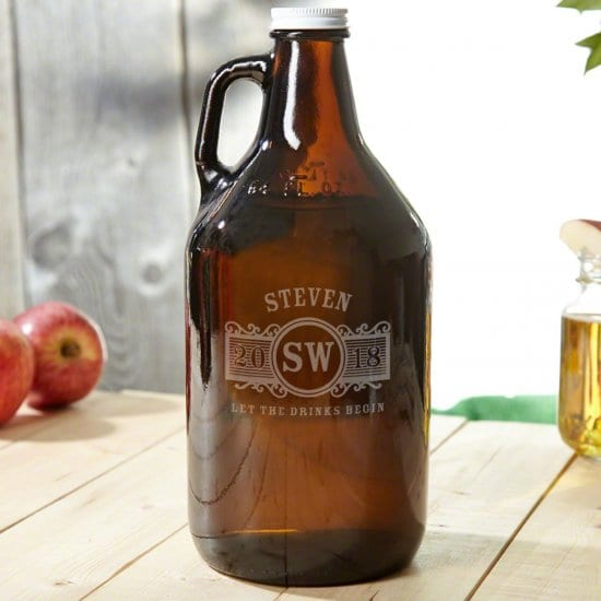 Personalized Amber Glass Growler