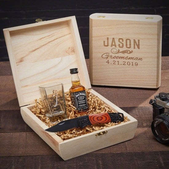 Personalized Groomsmen Gift Set with Shot Glass and Pocket Knife