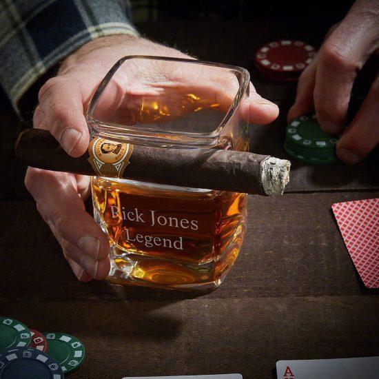 Engraved Cigar-Holding Whiskey Glass