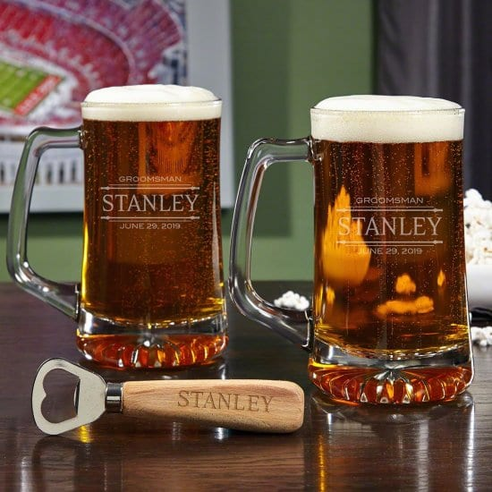 Custom Beer Mugs and Bottle Opener Gift Set