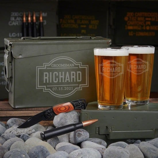 Engraved Ammo Can Pint Glass Gift Set of First Year Anniversary Gifts