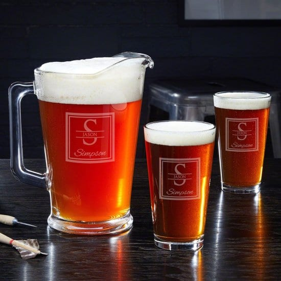 Engraved Beer Pitcher Set with Beer Glasses