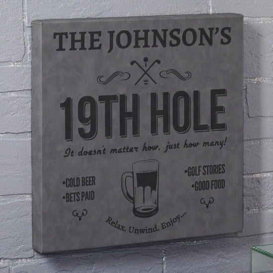 Personalized 19th Hole Golf Bar Canvas