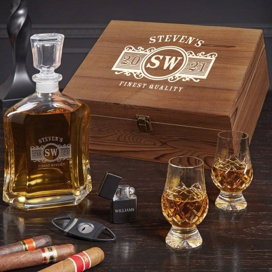 Personalized Whiskey Decanter and Glencairn Glass Set of 50th Birthday Gift Ideas for Men