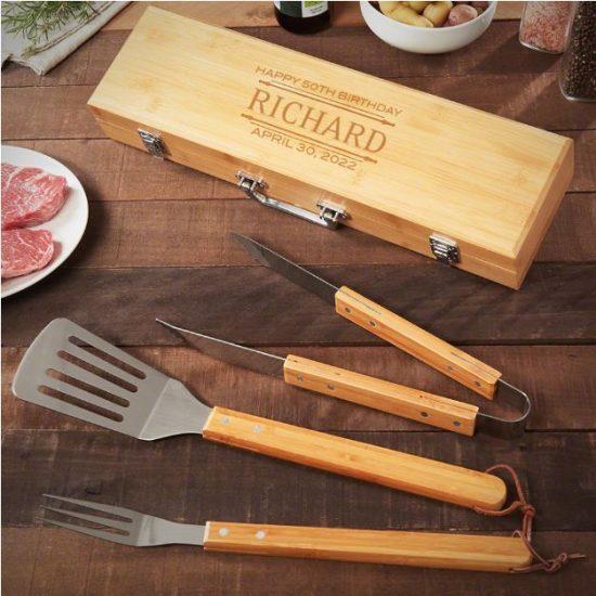 50th Birthday Gift Ideas Custom Bamboo Grilling Tools