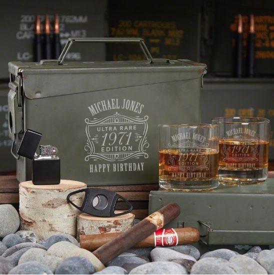 Custom Whiskey Ammo Can Set of 50th Birthday Gift Ideas for Men