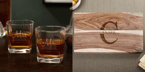 Custom Whiskey Glasses and Cutting Board