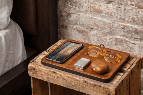 Leather Catchall with Wireless Charging Station