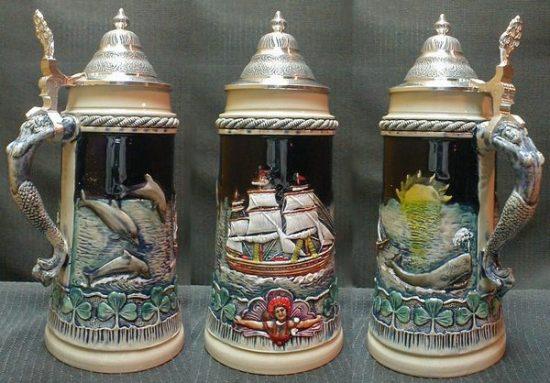 Vintage Ceramic Nautical Stein