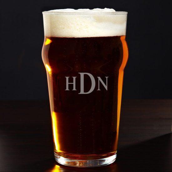 Monogrammed English Pub Glass