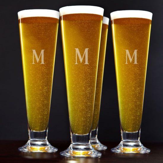 Engraved Tall Pilsner Glasses Set