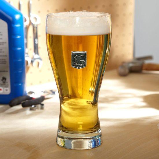 Custom Pilsner Glass with Pewter Crest