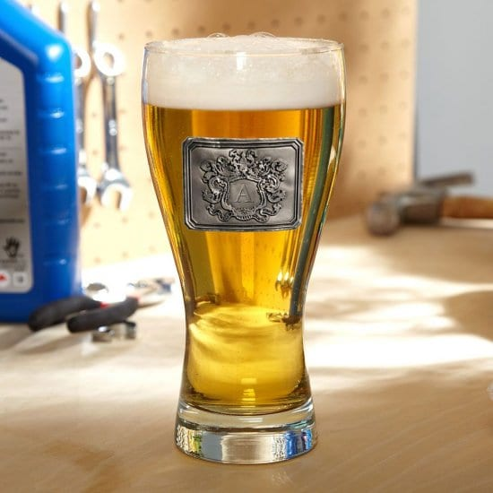 Pilsner Glass with Pewter Crest