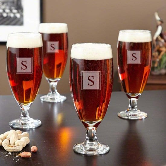 Four Engraved Craft Beer Glasses