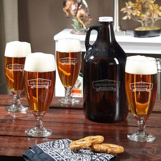 Custom Pilsner Glasses and Amber Beer Growler