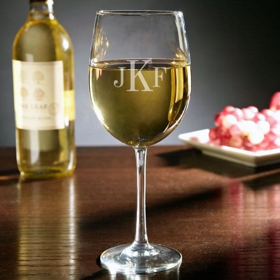 Monogrammed Stemmed White Wine Glass