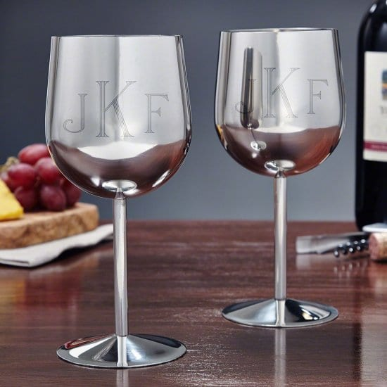 Monogrammed Steel Stemmed Wine Glasses