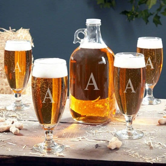 Personalized Beer Growler Set with Pilsner Glasses