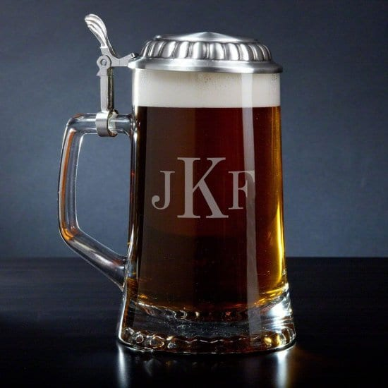 Monogrammed Glass Stein with Pewter Lid