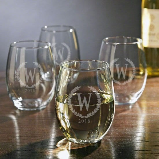 Set of Four Custom White Wine Glasses