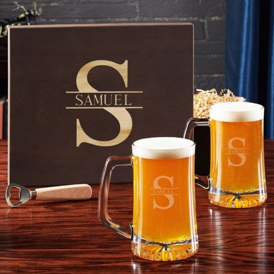 Personalized Beer Mugs with Bottle Opener Gift Set