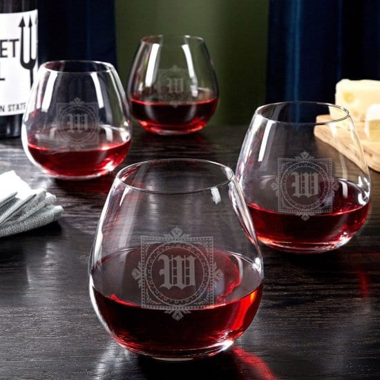 Engraved Stemless Red Wine Glasses