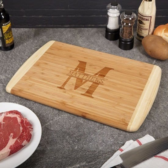 Personalized Cutting Board Made From Genuine Bamboo