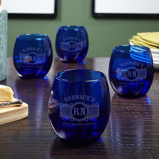 Set of Blue Stemless Custom Wine Glasses