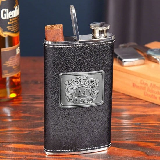 Leather Wrapped Flask with Cigar Compartment