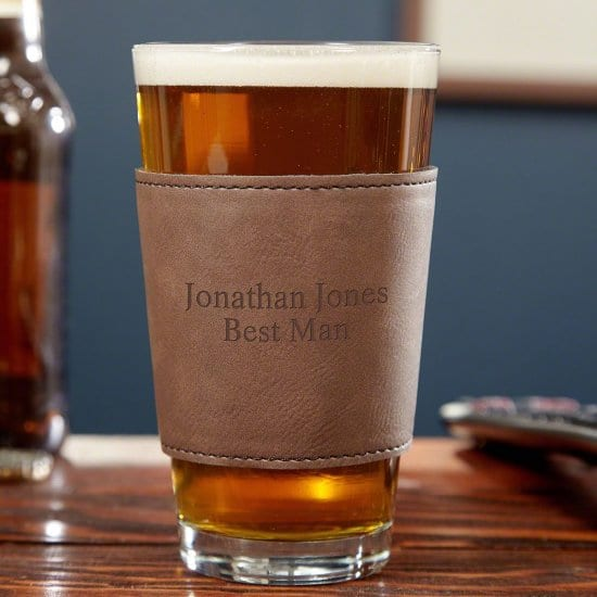 Pint Glass with Engraved Leather Wrap
