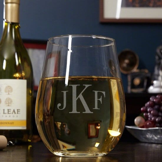 Giant Monogrammed Stemless Wine Glass