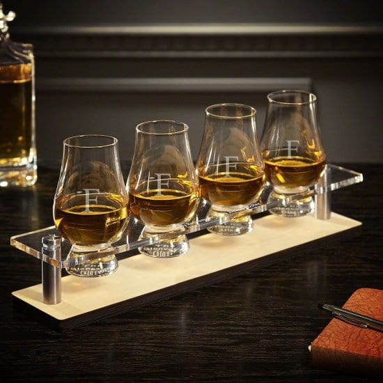 Set of Glencairn Whiskey Glasses with Acrylic Serving Tray