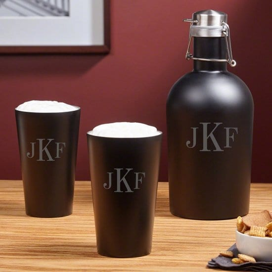 Monogrammed Beer Growler with Matching Pint Glasses
