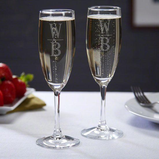 Monogrammed Wedding Champagne Flutes