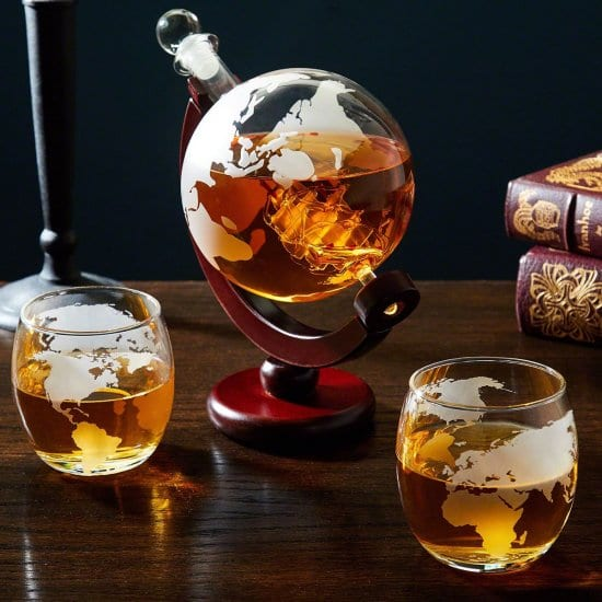 Etched Lead-Free Globe Decanter with Glasses