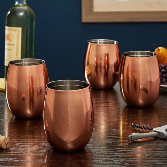Set of Four Copper Wine Glasses