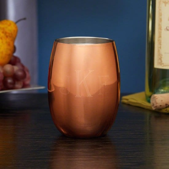 Monogrammed Copper Wine Glass