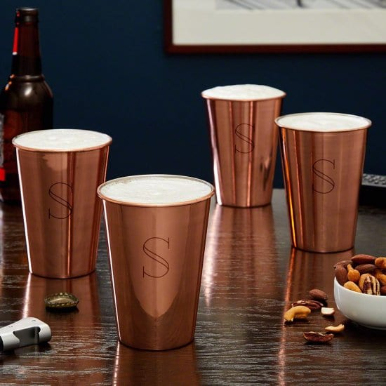 Set of Four Copper Pint Glasses