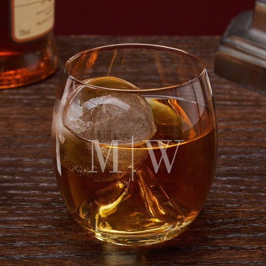 Personalized Whiskey Glass with Ice Mold