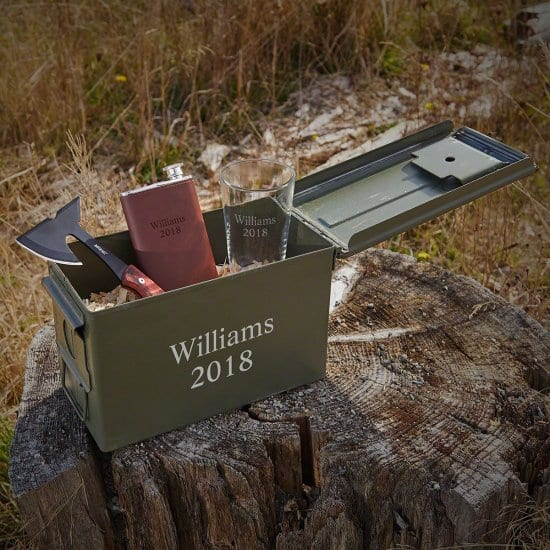 Personalized Ammo Can with Pint Glass, Hatchet, and Flask