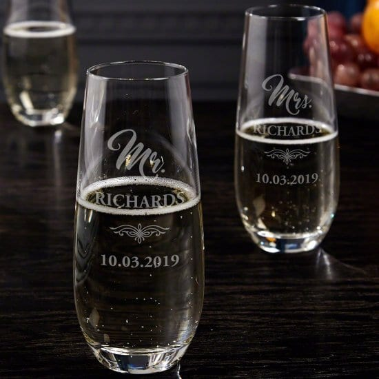Mr. and Mrs. Pair of Custom Stemless Champagne Wedding Glasses