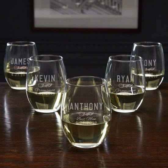 Five Custom Wine Glasses for Wedding Party