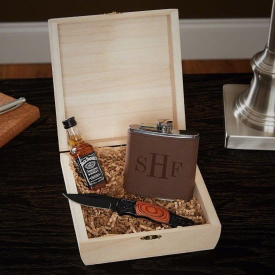 Personalized Flask Cigar Box Set with Pocket Knife