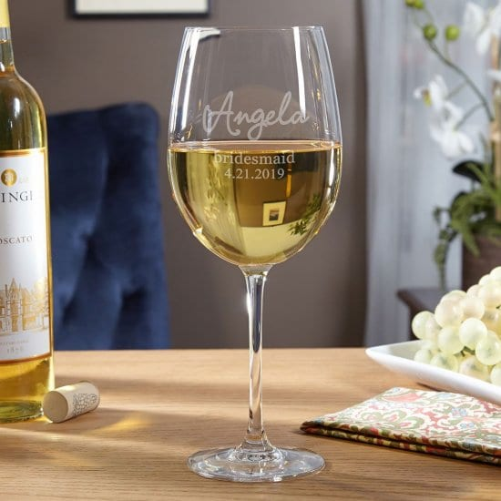 Personalized Bridesmaid Stemmed White Wine Glass