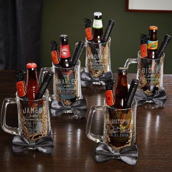 Set of Five Custom Beer Mug Gift Sets